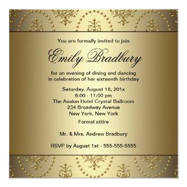 Small Gold Chandelier Sweet Sixteen Party Invitations Back View