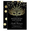 gold confetti masquerade sweet 16 party invitation