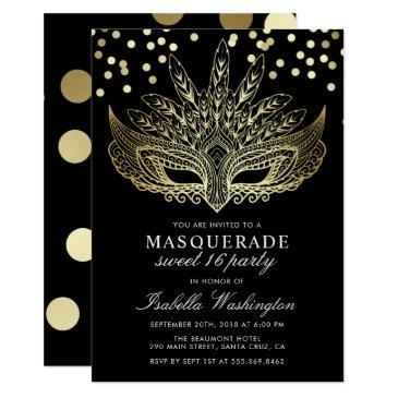 gold confetti masquerade sweet 16 party