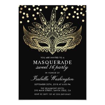 Small Gold Confetti Masquerade Sweet 16 Party Invitation Front View