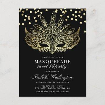 gold confetti masquerade sweet 16 party invitation postinvitations