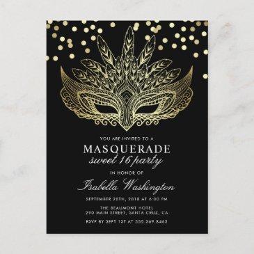 gold confetti masquerade sweet 16 party invitation postinvitations