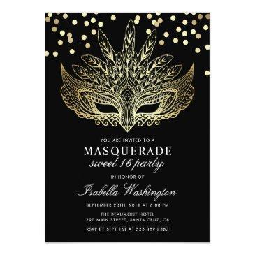 Small Gold Confetti Masquerade Sweet 16 Party Invitation Postinvitations Front View