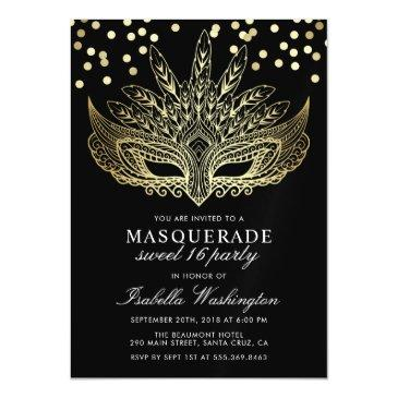 gold confetti masquerade sweet 16 party magnetic invitations