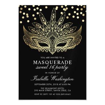 gold confetti masquerade sweet 16 party magnetic invitation