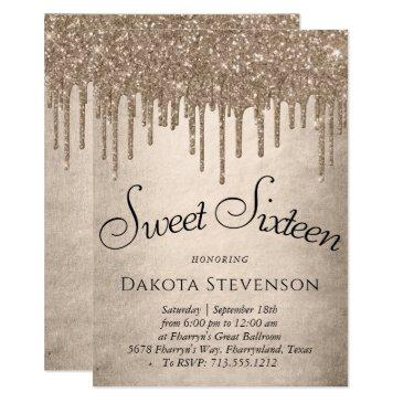 gold drip sweet 16 party   champagne pour script invitation