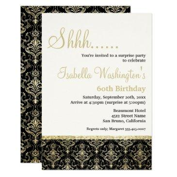 gold glitter damask 60th surprise birthday party