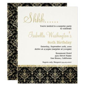 gold glitter damask 80th surprise birthday party