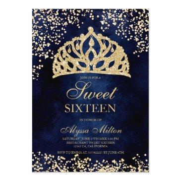 Small Gold Glitter Navy Blue Crown Tiara Photo Sweet 16 Invitation Front View