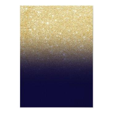 Small Gold Glitter Ombre Navy Blue Elegant Sweet Sixteen Invitations Back View