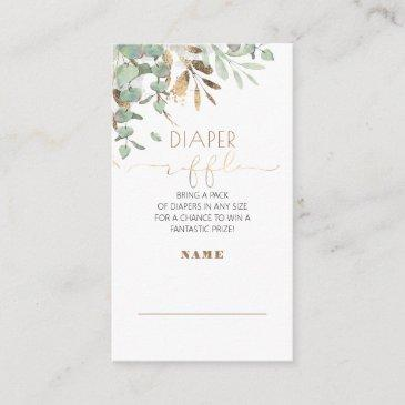 gold greenery baby shower diaper raffle enclosure invitations