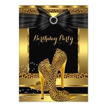 gold leopard high heel shoe black birthday party 2 invitation