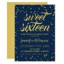 gold navy sweet 16 glitter sparkle confetti invitation
