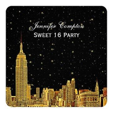 gold nyc skyline etched starry sky sq sweet 16 invitation