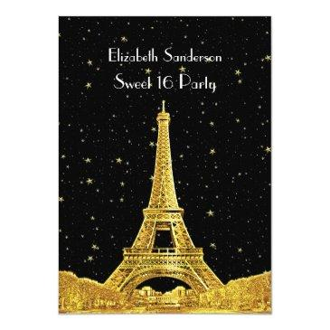 Small Gold Paris France Skyline #2 Bk Starry Sweet 16 V Invitations Front View