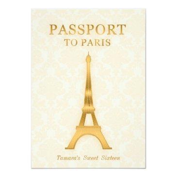 Small Gold Passport Birthday Invitation Front View