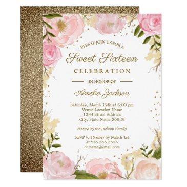 gold pink blush floral watercolor sweet sixteen