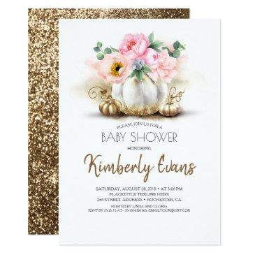 gold pumpkin blush pink floral fall baby shower invitation