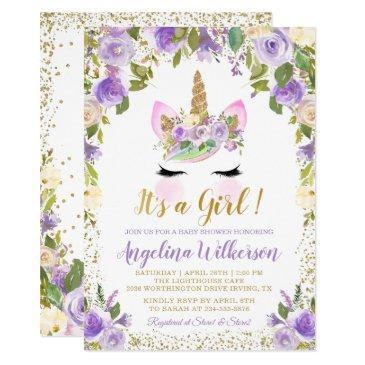 gold purple floral unicorn baby shower invitations