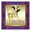 gold purple sweet sixteen masquerade party invitation