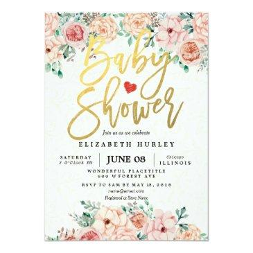 Small Gold Script & Watercolor Floral Baby Shower Invite Front View