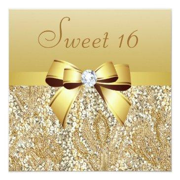 Small Gold Sequins, Bow & Diamond Sweet 16 Invitations Front View