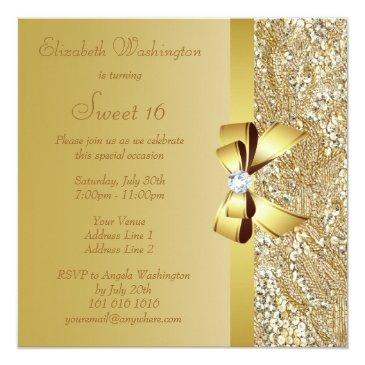 Small Gold Sequins, Bow & Diamond Sweet 16 Invitations Back View