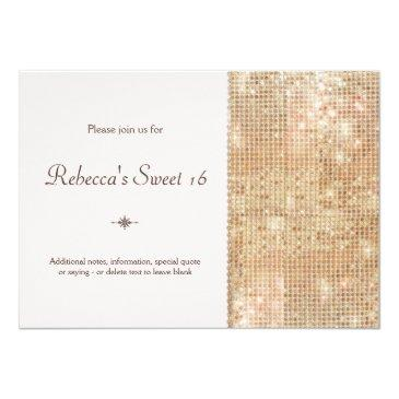 Small Gold Sequins Sweet 16 Blush Pink Invitations Front View