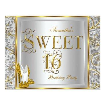 gold silver white sweet sixteen sweet 16 party invitations