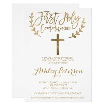 gold simple chic cross first holy communion