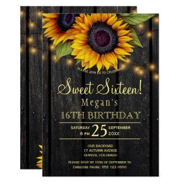 gold sunflowers country barn wood sweet sixteen invitation