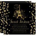 gold sweet sixteen paris glitter confetti black invitation