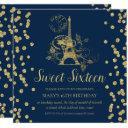 gold sweet sixteen paris glitter confetti navy blu invitation