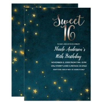 gold twinkle stars celestial sky sweet 16 party invitation