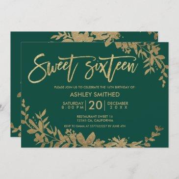 gold typography leaf floral green sweet 16 invitation