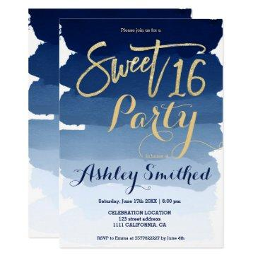gold typography navy blue watercolor sweet 16