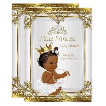 gold white pearl princess baby shower ethnic