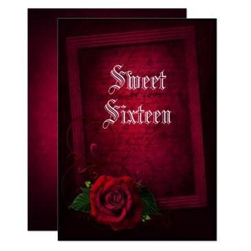 gothic framed letter & red rose sweet 16 invitation