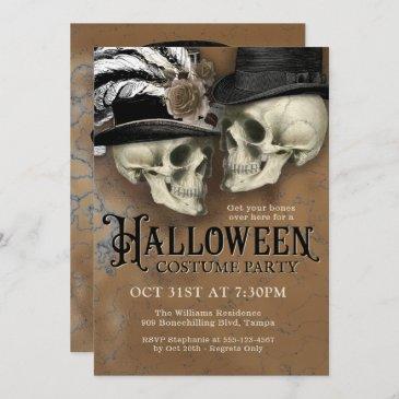 gothic skulls in hats halloween costume party invitation