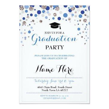 graduation blue silver party polka dot invite