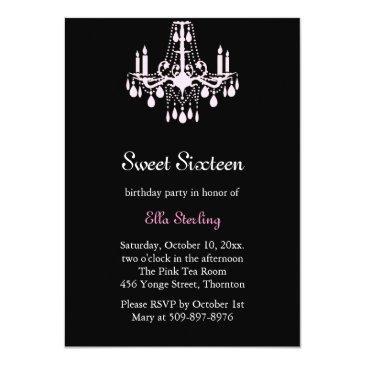 Small Grand Ballroom Birthday Invitation (black) Front View