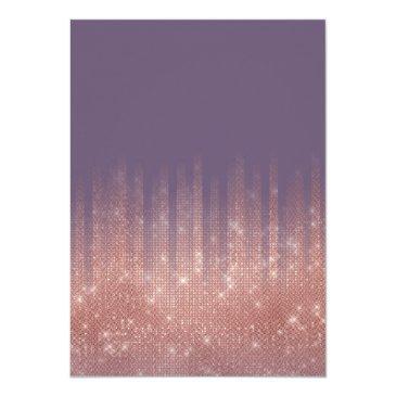 Small Grape Purple Rose Gold Glitter Typography Sweet 16 Invitation Back View