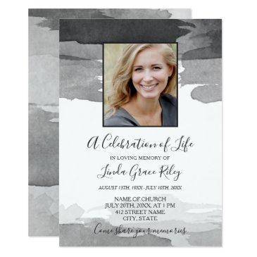 gray watercolor - photo - celebration of life invitation