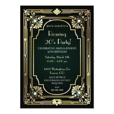 Small Great Gatsby 30th Birthday Invitation Front View