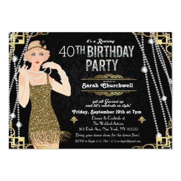 Small Great Gatsby Flapper Girl Birthday Invitation Front View