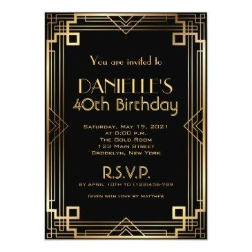 Small Great Gatsby Inspired Art Deco Birthday Invitation Front View