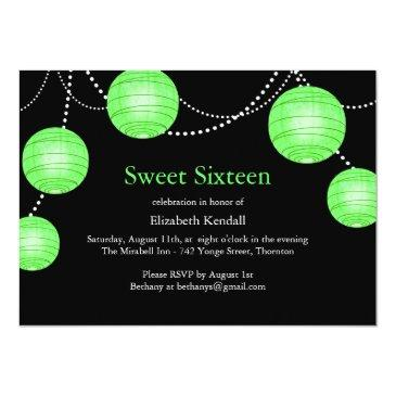 Small Green Party Lantern Sweet 16 Birthday Invitation Front View