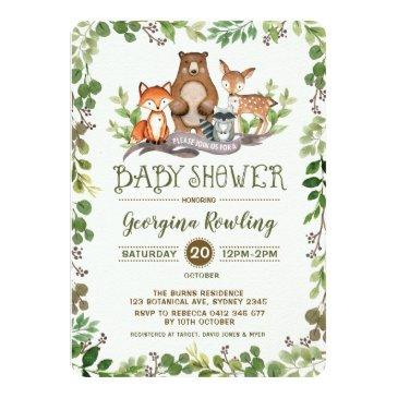 green woodland baby shower invitations forest