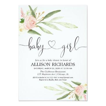 Small Greenery And Pink Gold Floral Girl Baby Shower Invitation Front View