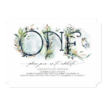 greenery baby's 1st birthday invitation - neutral